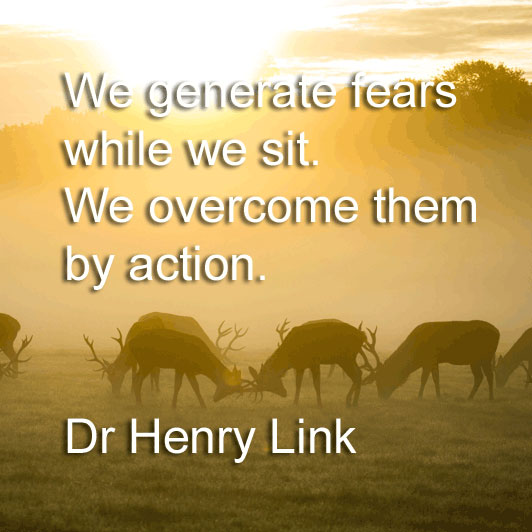 Dr Henry Link says We generate fears while we sit. We overcome them by action.